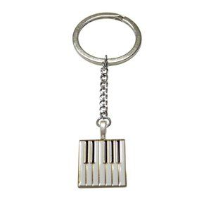 Gold Toned Square Piano Key Design Keychain